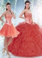 Beautifu Coral Red Perfect Quinceanera Dresses with Beading and Ruffles