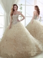 Beautiful Beaded Bodice and Ruffled Brush Train Quinceanera Dress in Champagne