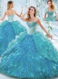 Beautiful Organza Blue Detachable Quinceanera Dress with Ruffles and Beading