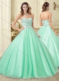 Classical Apple Green Tulle Perfect Quinceanera Dress with Beading