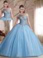 Classical See Through Scoop Beaded Bodice Sweet 16 Quinceanera Dress in Light Blue