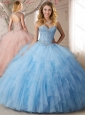 Elegant Applique and Ruffled Tulle Perfect Quinceanera Dress in Light Blue