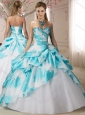 Fashionable Beaded White and Blue Perfect Quinceanera Dresses in Printed and Tulle