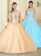 Fashionable Visible Boning Beaded Bodice Champagne Quinceanera Dress