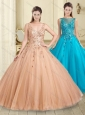 Latest Bateau Sequined Decorated Bodice Quinceanera Dress in Champagne