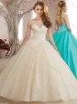 Latest See Through Backless Beaded Bodice Sweet Fifteen Quinceanera Dress in Champagne