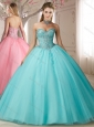 Lovely Big Puffy Beaded Bodice and Applique Sweet 16 Quinceanera Dress in Aqua Blue