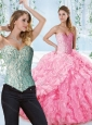 Lovely Rose Pink Perfect Quinceanera Dress with Beaded Bodice and Ruffles