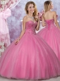 Most Popular Really Puffy Tulle Rose Pink Perfect Dress with Beading
