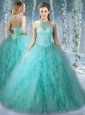 Perfect Quinceanera Dress With Beaded Decorated Bodice and High Neck