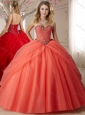 Visible Boning Spaghetti Straps Beaded Perfect Quinceanera Dresses in Orange Red