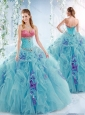 Wonderful Aqua Blue Perfect Quinceanera Dresses with Ruffles and Beading