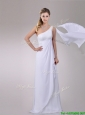 2016 Classical Chiffon Watteau Train One Shoulder Wedding Dress with Beading
