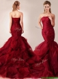 2016 Classical Mermaid Sweetheart Tulle Ruffles Wedding Dresses in Wine Red