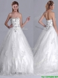 2016 Luxurious Strapless Princess Brush Train Beaded Wedding Dress in Tulle