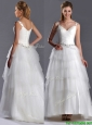 2016 Romantic Straps Princess Tulle Beaded Wedding Dress with Brush Train