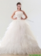 Fashionable Strapless Tulle Wedding Gown with Beading and Ruffles