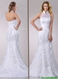 Most Popular Halter Top Mermaid Lace Wedding Dress with Brush Train for 2016
