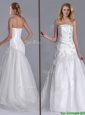 Popular Column Brush Train Wedding Dress with Beading and Hand Crafted
