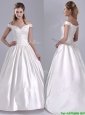 Ball Gown Off the Shoulder Brush Train Beaded Beautiful Wedding Dress in Satin
