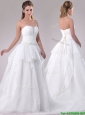 Beautiful A Line Strapless Sequined Wedding Dress in Tulle