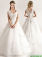 Beautiful A Line Tull Short Sleeves Wedding Dresses with Beading and Appliques