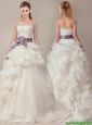 Beautiful Ball Gown Strapless Sophisticated Ruffled and Sashed Wedding Dresses with Brush Train