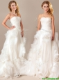 Beautiful Ball Gown Sweetheart Ruched and Rolling Flowers Wedding Dresses with Brush Train