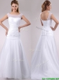 Beautiful Column Cap Sleeves Beaded and Ruched Wedding Dress in Tulle