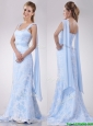 Beautiful Mermaid Beaded and Laced Light Blue Wedding Dress with Brush Train