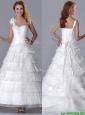Beautiful One Shoulder Organza Brush Train Wedding Dress with Beading and Ruffled Layers