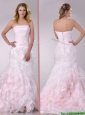 Beautiful Sweep Train Ruffled Light Pink Wedding Dress in Organza