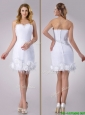 Beautiful Sweetheart Short Satin Wedding Dress with Beading and Rolling Flowers