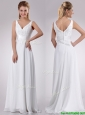 Most Popular Empire V Neck Chiffon Beaded Wedding Dress with Sweep Train
