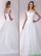 Popular A Line Scoop Court Train Tulle Wedding Dress with Beading