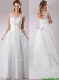 Popular A Line V Neck Court Train Beaded Wedding Dress in Tulle