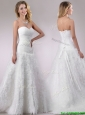 Popular Beaded and Ruffled Rolling Flowers Wedding Dress with Brush Train