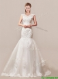 Popular Column Button Up Wedding Dress with Beading and Lace