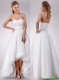 Popular High Low Organza Wedding Dress with Beading