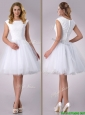 Popular Scoop Cap Sleeves Short Lace Wedding Dress in Tulle