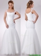 Popular Square Mermaid Applique Side Zipper Wedding Dress in Tulle