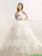 Popular  Strapless Feathered and Beaded Wedding Dresses in Tulle