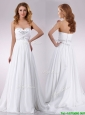 Popular Sweetheart Brush Train Beaded Wedding Dress in Chiffon