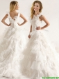 Popular Applique and Ruffled Layers Wedding Dresses with Deep V Neck