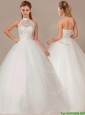 Fashionable Ball Gown High Neck Wedding Dresses with Beading and Appliques