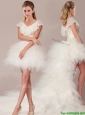 Popular Laced and Ruffled Detachable Wedding Dresses with High Low