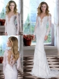 Beautiful Column Brush Train Long Sleeves Wedding Dress with Lace