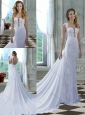 Beautiful Column Square Chapel Train Lace and Chiffon White Wedding Dress for Outdoor