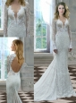 Beautiful Mermaid Deep V Neck Long Sleeves Wedding Dress in Lace