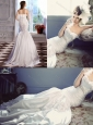 Elegant Mermaid Sweetheart Brush Train Beaded and Ruched Wedding Dress for Garden